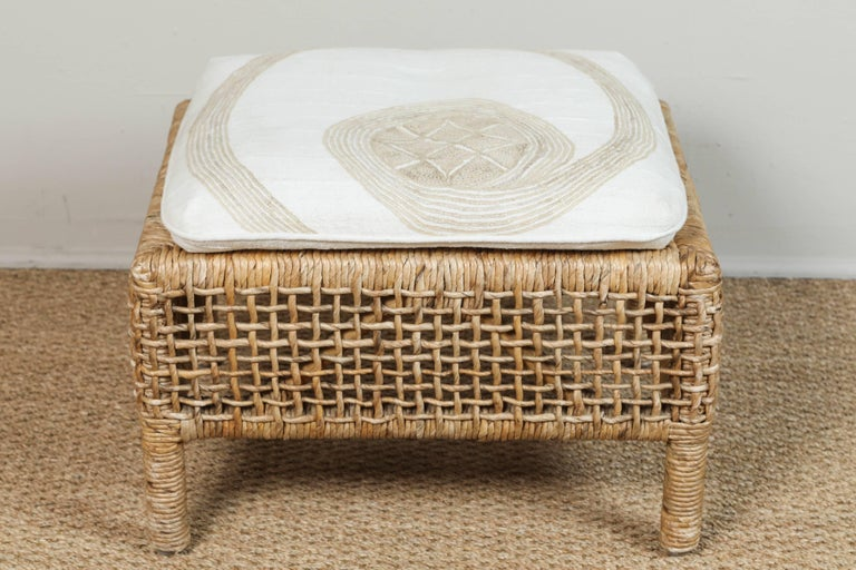 Rattan Chair and Ottoman with African Textile Cushions For Sale 2