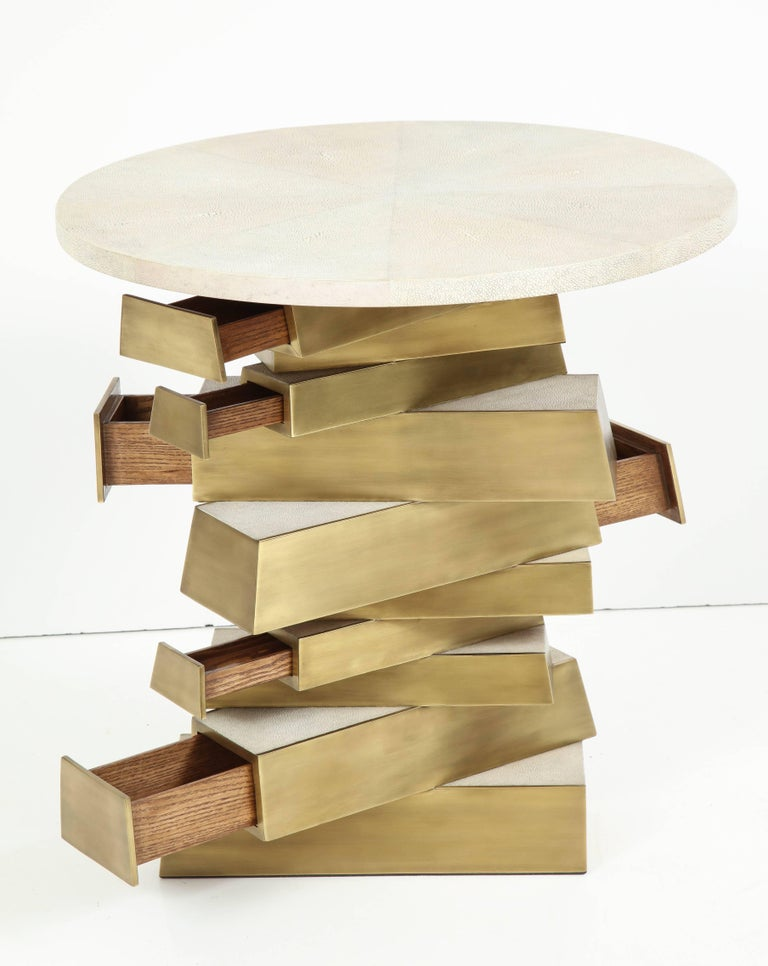 Shagreen and Bronze Side Table, Offered by Area ID 6