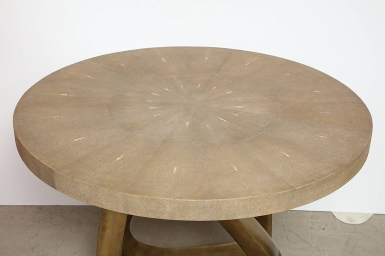 Shagreen Dining Room Table with Bronze Base, Offered by Area ID 2