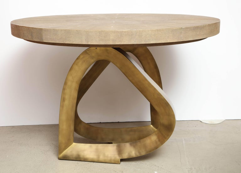 Shagreen Dining Room Table with Bronze Base, Offered by Area ID 5
