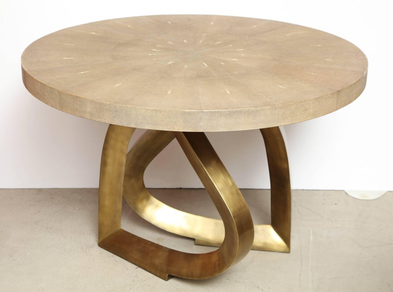 Shagreen Dining Room Table with Bronze Base 7