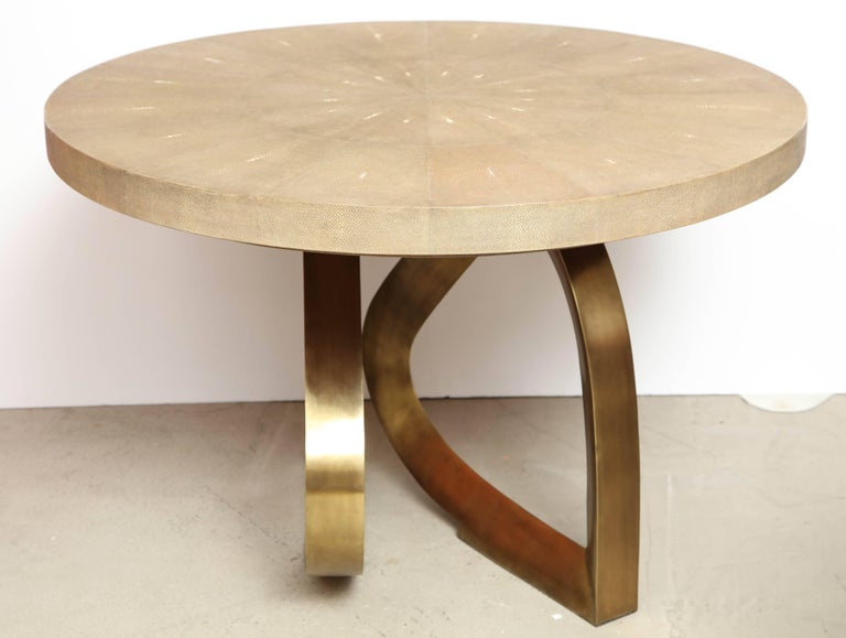 Shagreen Dining Room Table with Bronze Base, Offered by Area ID 8