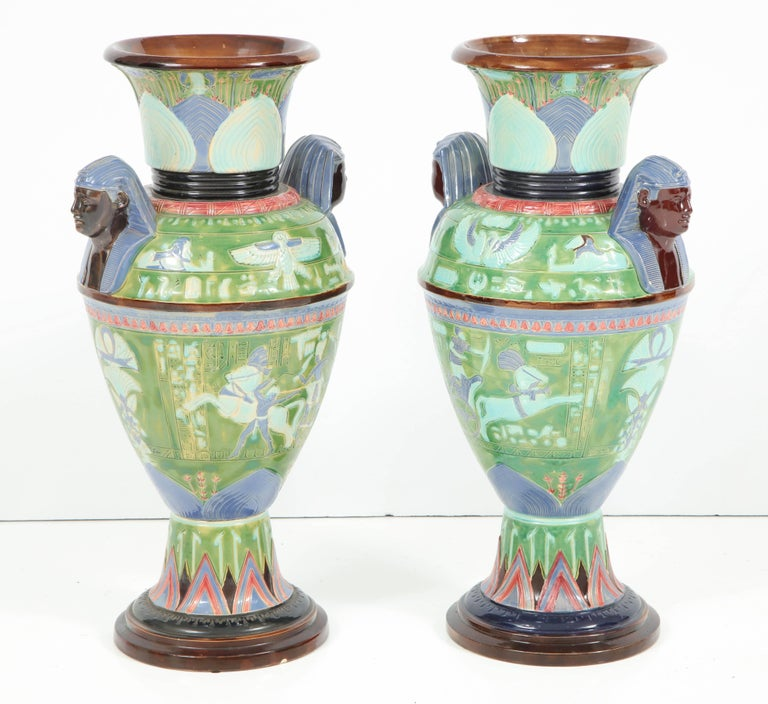 Pair Of Egyptian Revival Ceramic Vases For Sale At 1stdibs