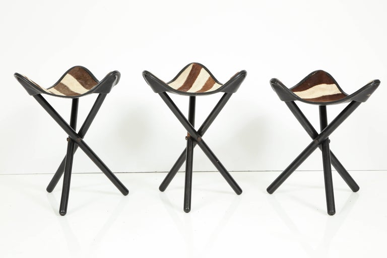 Kenyan Zimmerman of Nairobi Zebra Campaign Stools For Sale