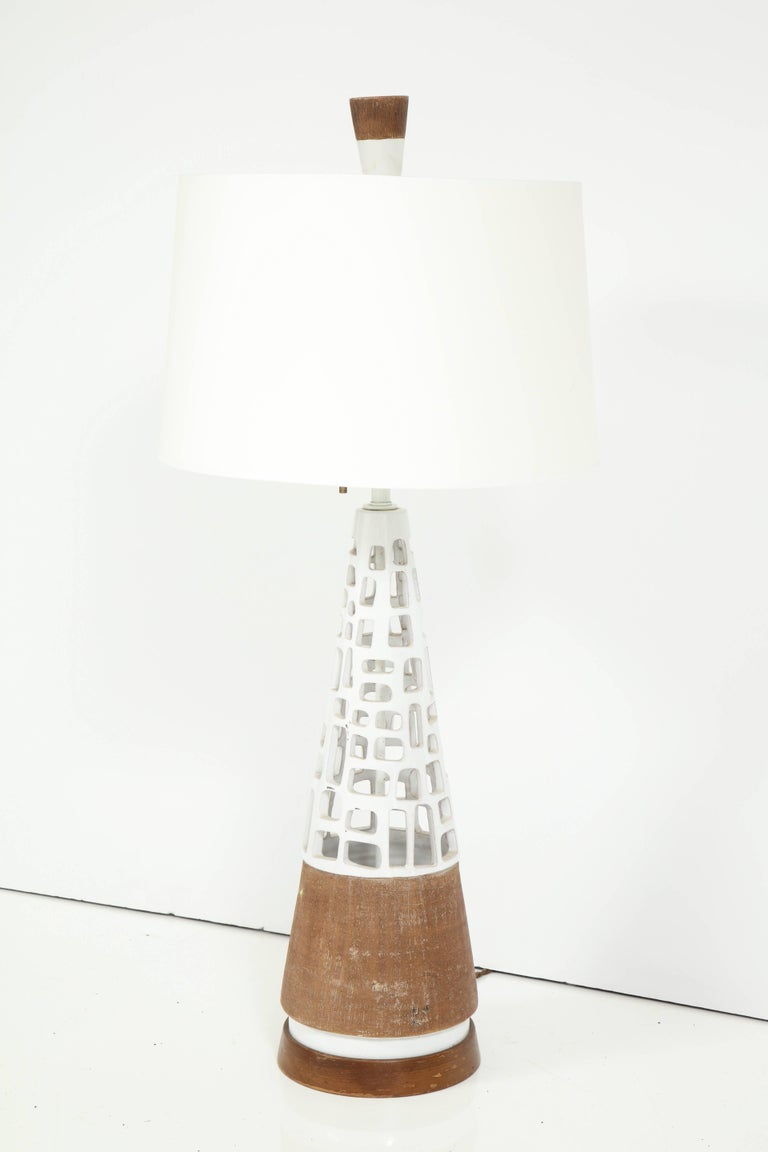 Mid-Century Modern Glazed and Raw Terra Cotta Lamp For Sale