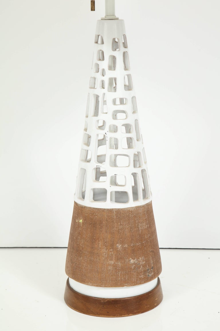 American Glazed and Raw Terra Cotta Lamp For Sale