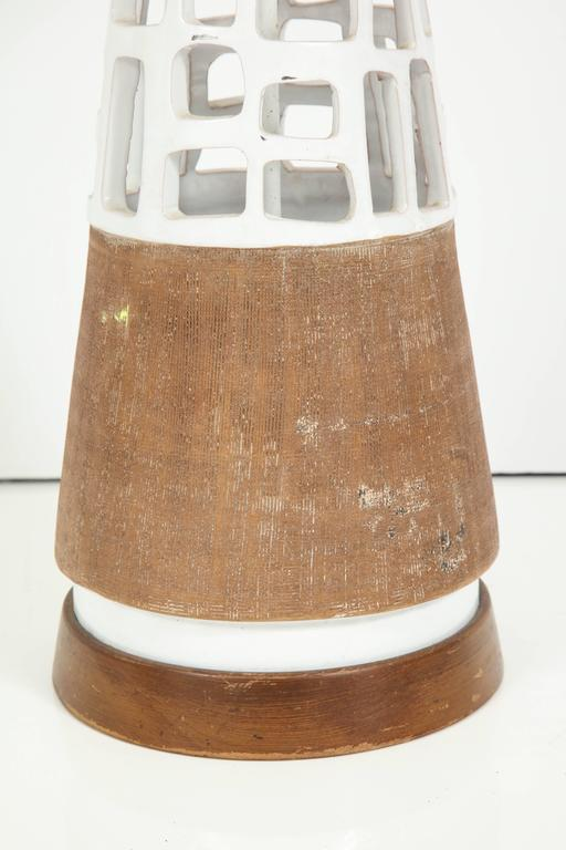 Hand-Carved Glazed and Raw Terra Cotta Lamp For Sale