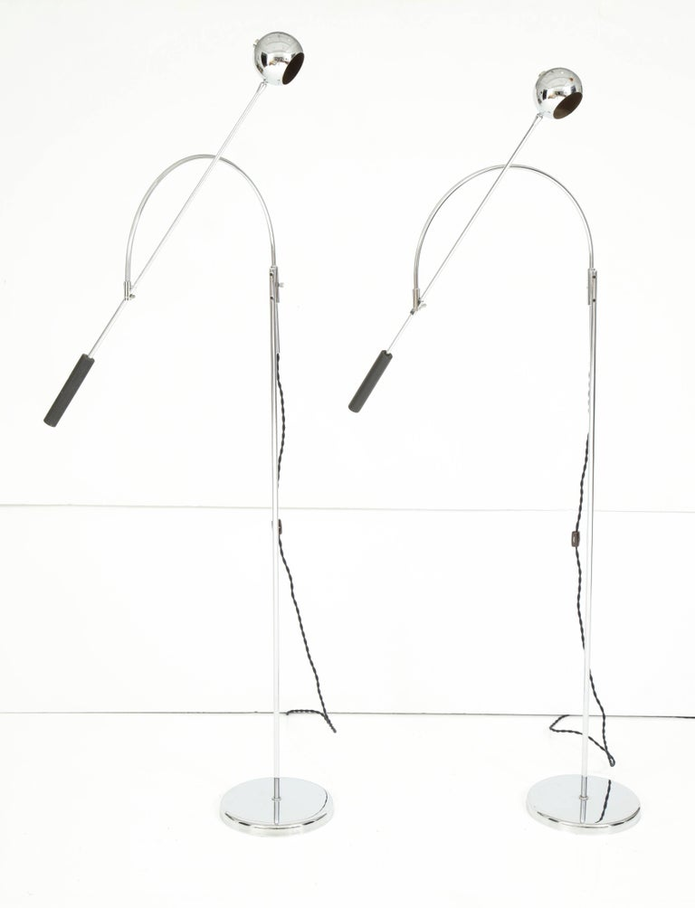 Pair of chrome floor lamps by Sonneman, excellent vintage finish and new wiring.