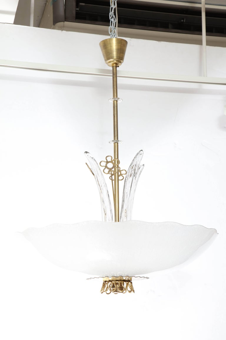 Pair of Swedish Orrefors Chandeliers, circa 1940s In Excellent Condition For Sale In New York, NY