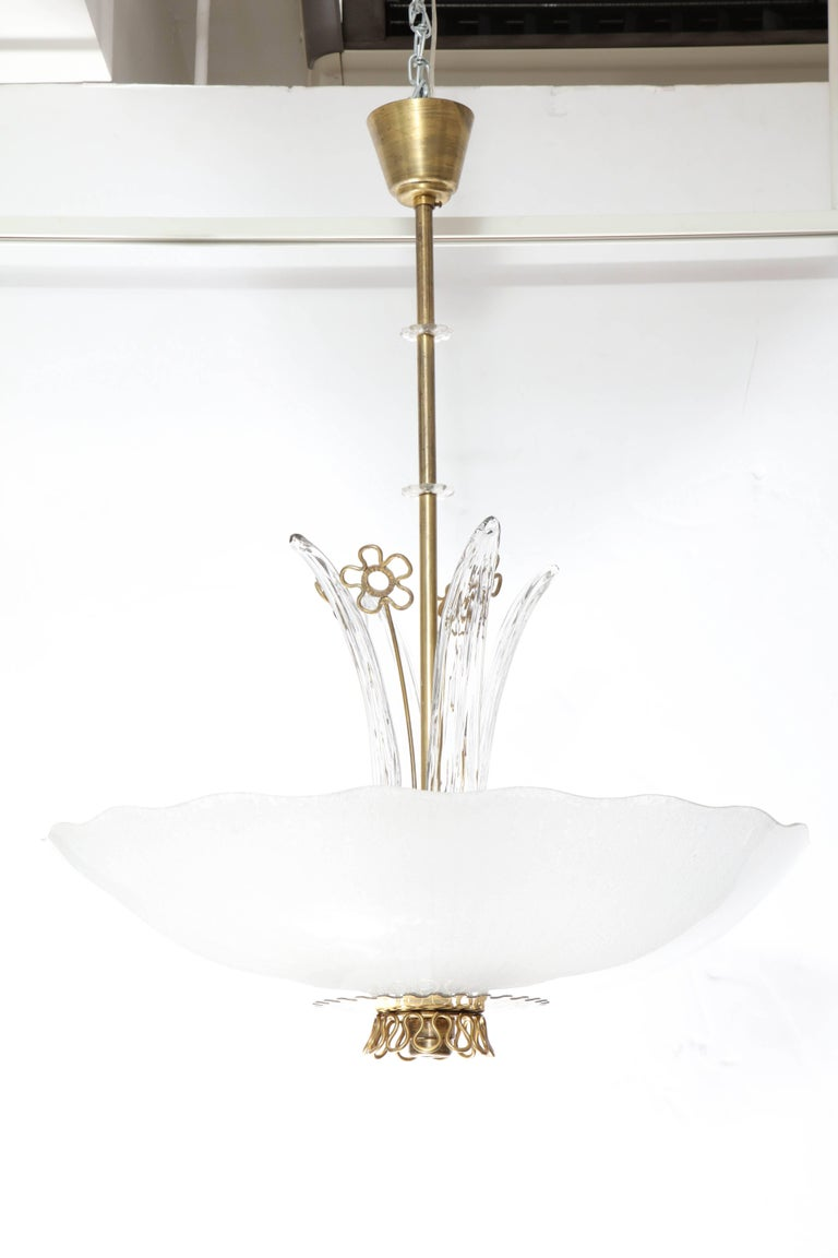 Mid-20th Century Pair of Swedish Orrefors Chandeliers, circa 1940s For Sale