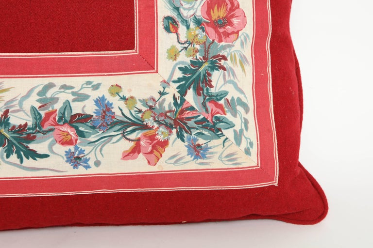 American Vintage Floral Trim Pillow For Sale
