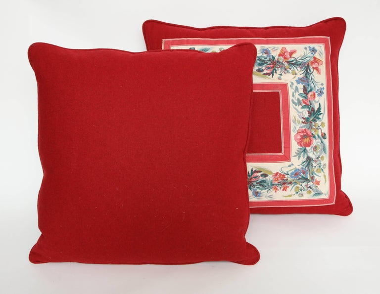 20th Century Vintage Floral Trim Pillow For Sale