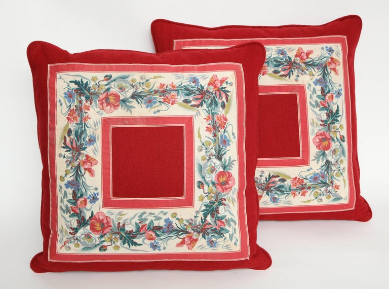 Vintage Floral Trim Pillow For Sale 1