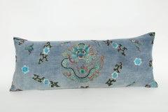 Vintage Blue Japanese Theatre Kimono Pillow