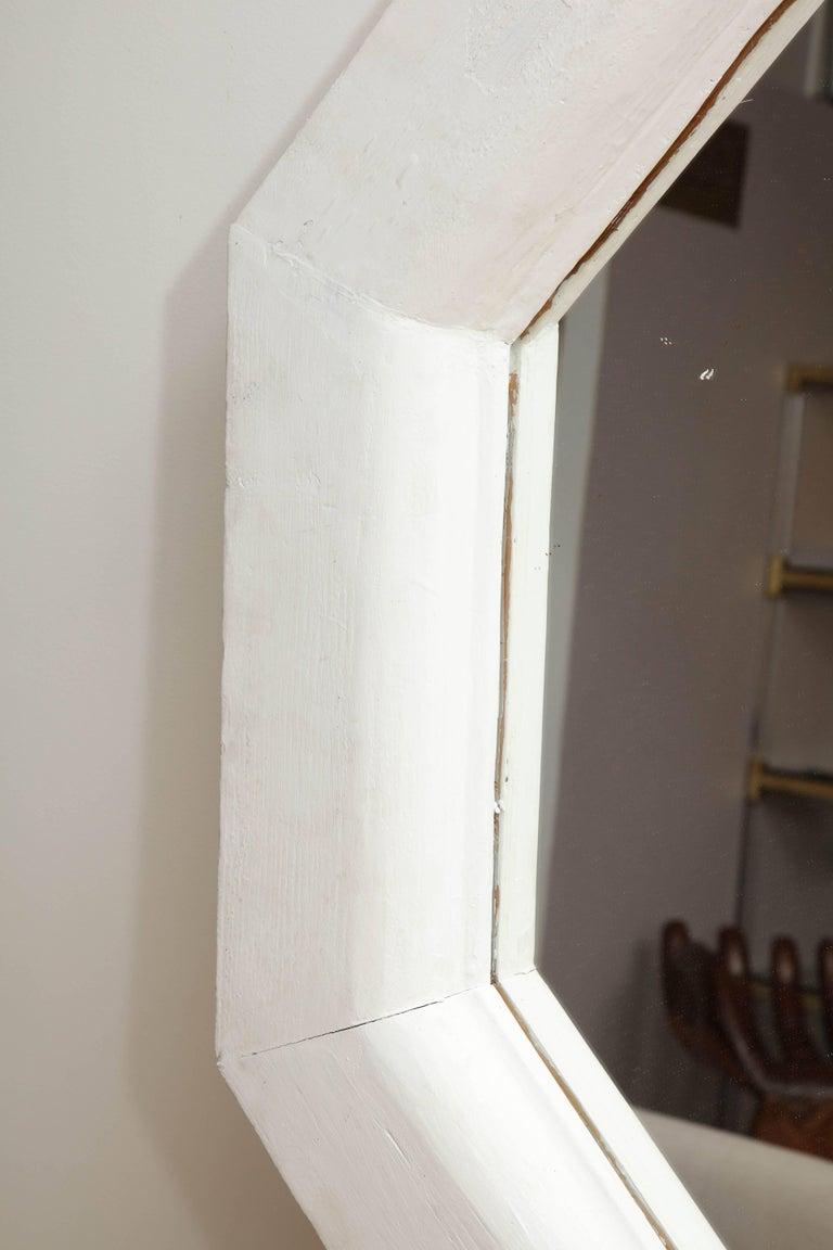 20th Century Vintage White Octagonal Mirror For Sale