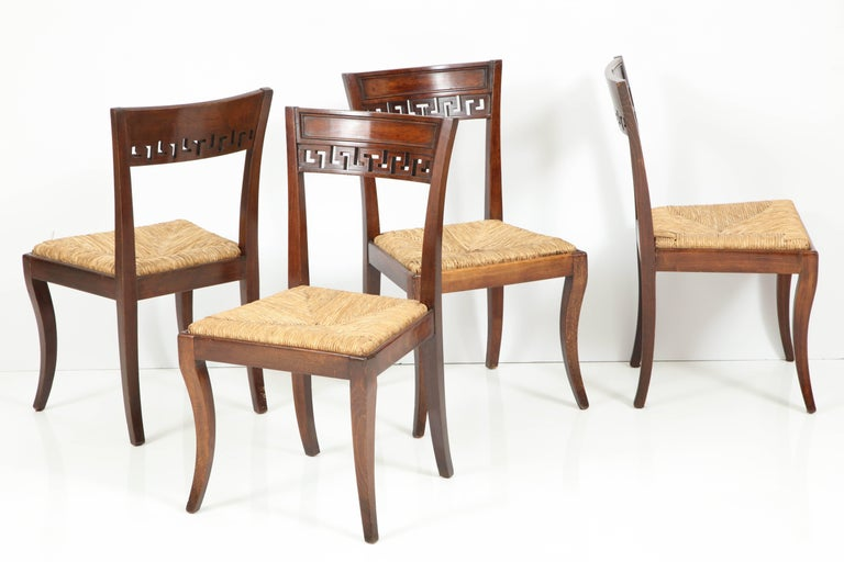 Other Set of Four Mahogany Chairs with Rush Seats For Sale