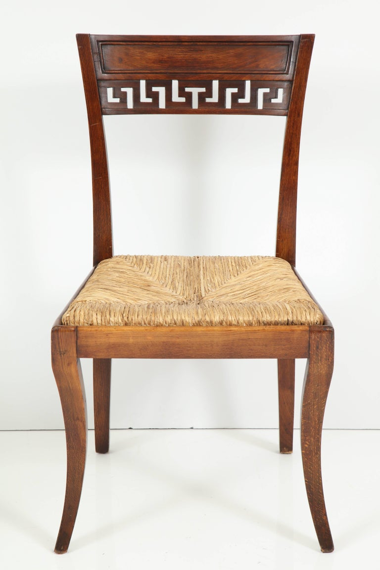 English Set of Four Mahogany Chairs with Rush Seats For Sale