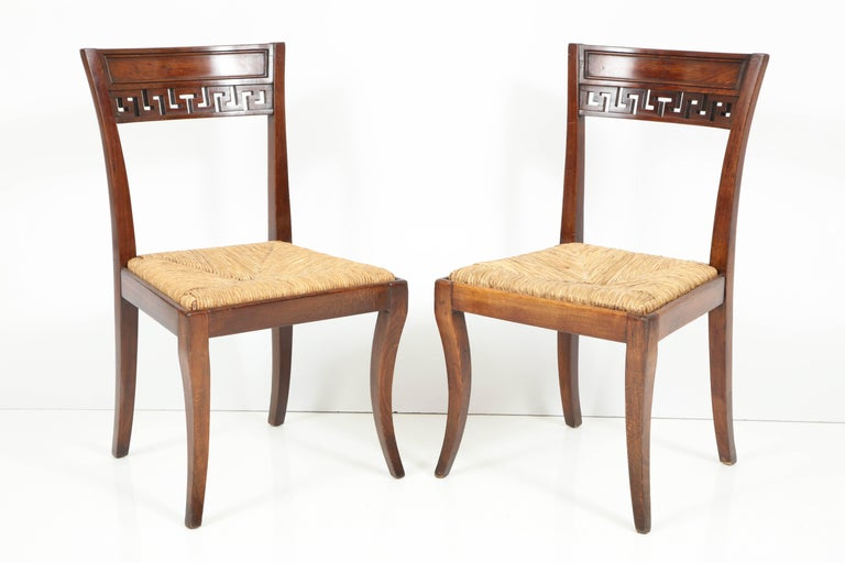 Set of Four Mahogany Chairs with Rush Seats In Good Condition For Sale In West Hollywood, CA