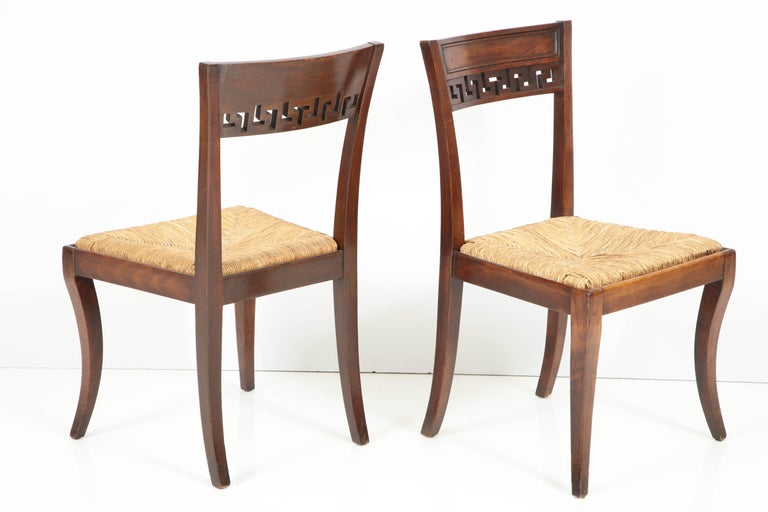 20th Century Set of Four Mahogany Chairs with Rush Seats For Sale