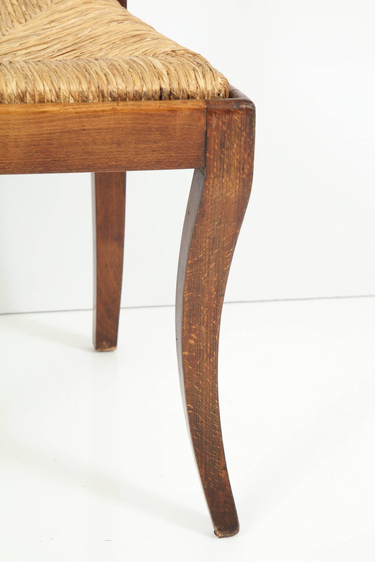 Set of Four Mahogany Chairs with Rush Seats For Sale 2