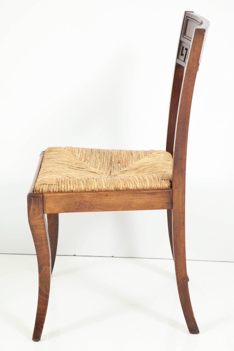 Set of Four Mahogany Chairs with Rush Seats For Sale 3