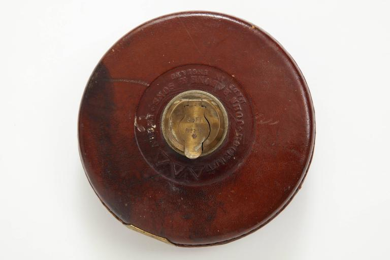 American Vintage Leather and Brass Tape Measure For Sale