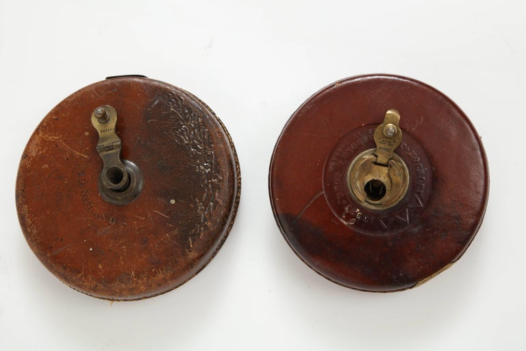 20th Century Vintage Leather and Brass Tape Measure For Sale