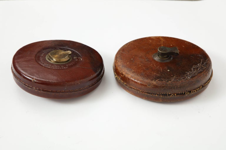 Vintage Leather and Brass Tape Measure For Sale 3