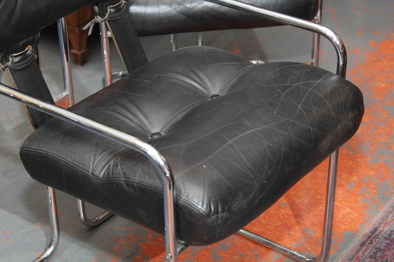 20th Century Set of Four Italian Leather and Chrome Chair For Sale