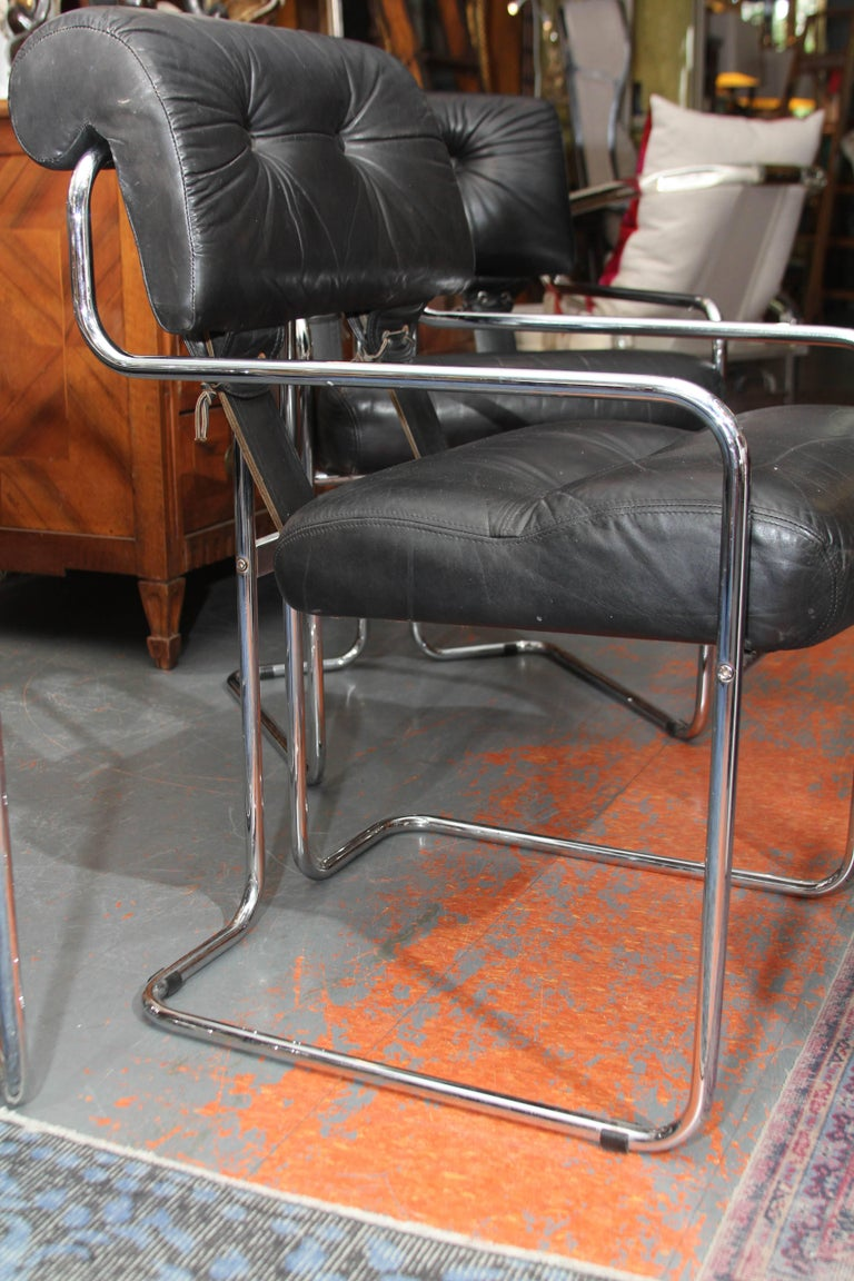 Set of Four Italian Leather and Chrome Chair For Sale 1