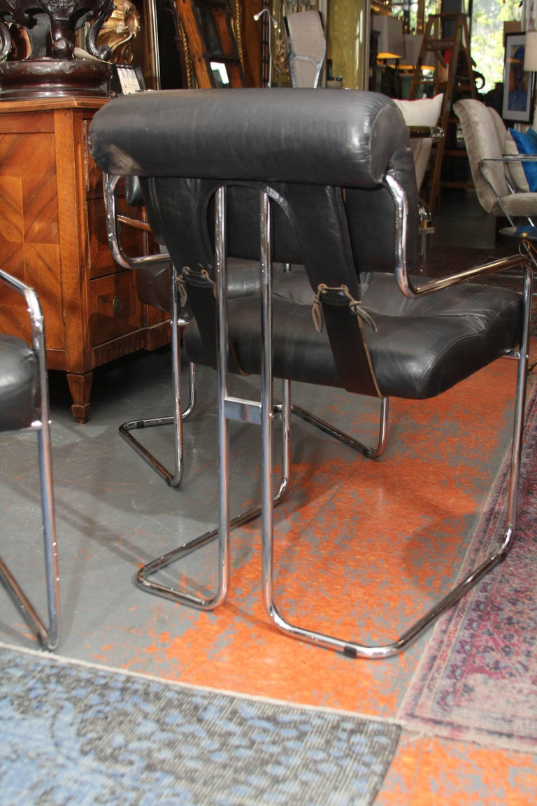 Set of Four Italian Leather and Chrome Chair For Sale 2