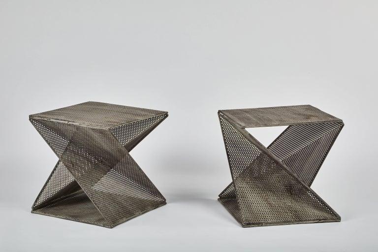 Mid-Century Modern Pair of Mathieu Matégot Style Geometric Side Tables For Sale