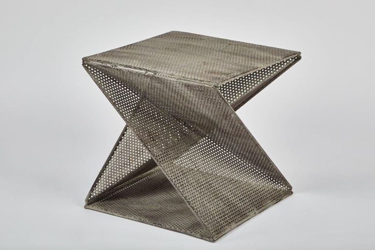 French Pair of Mathieu Matégot Style Geometric Side Tables For Sale