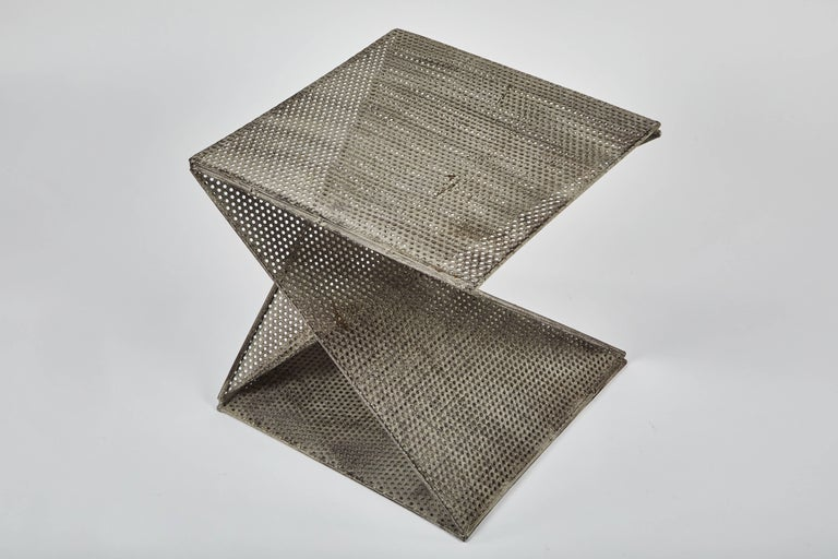 Pair of Mathieu Matégot Style Geometric Side Tables In Good Condition For Sale In Chicago, IL