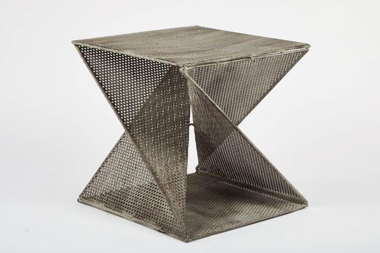 Metal Pair of Mathieu Matégot Style Geometric Side Tables For Sale
