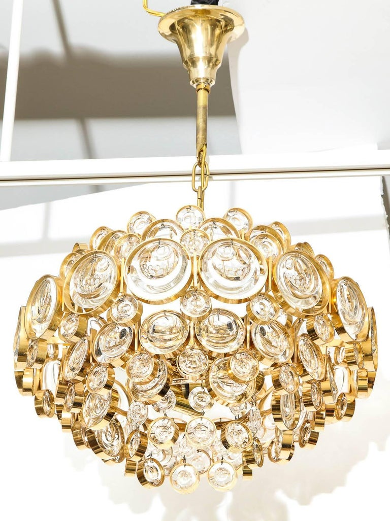Hollywood Regency Palwa Gilt Brass Optic Glass Chandelier For Sale