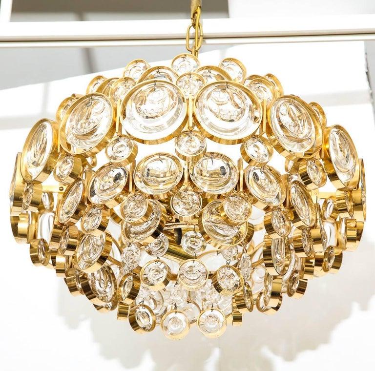 German Palwa Gilt Brass Optic Glass Chandelier For Sale