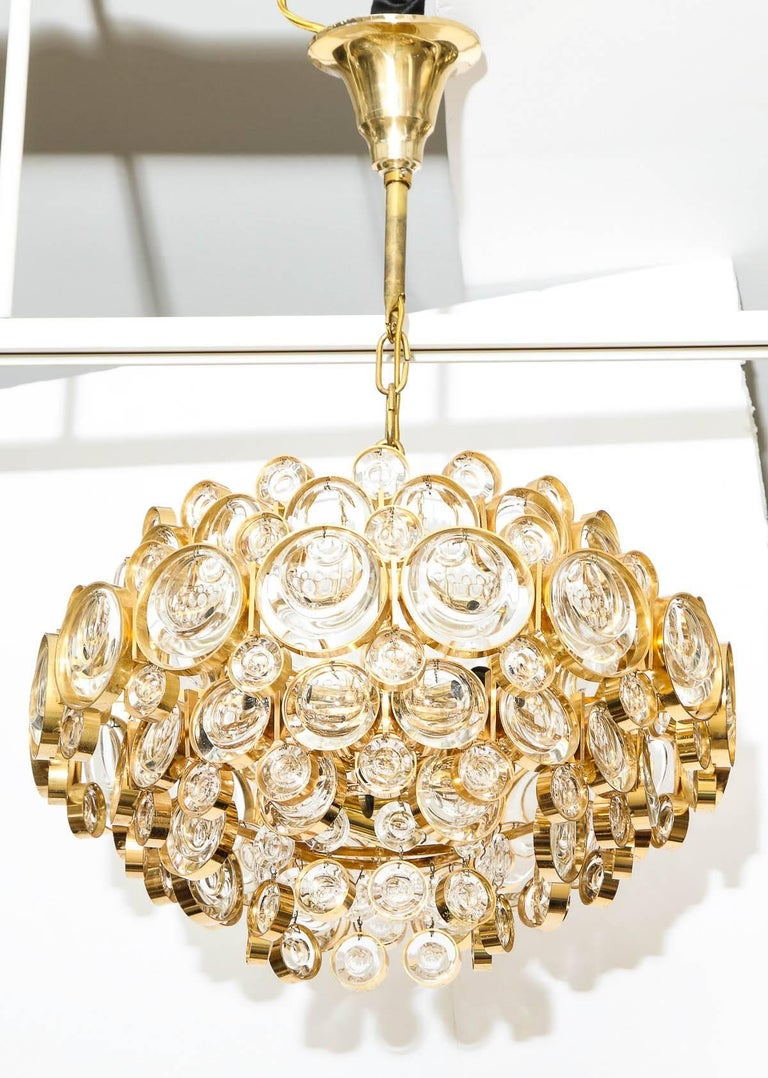 Palwa Gilt Brass Optic Glass Chandelier In Excellent Condition For Sale In New York, NY