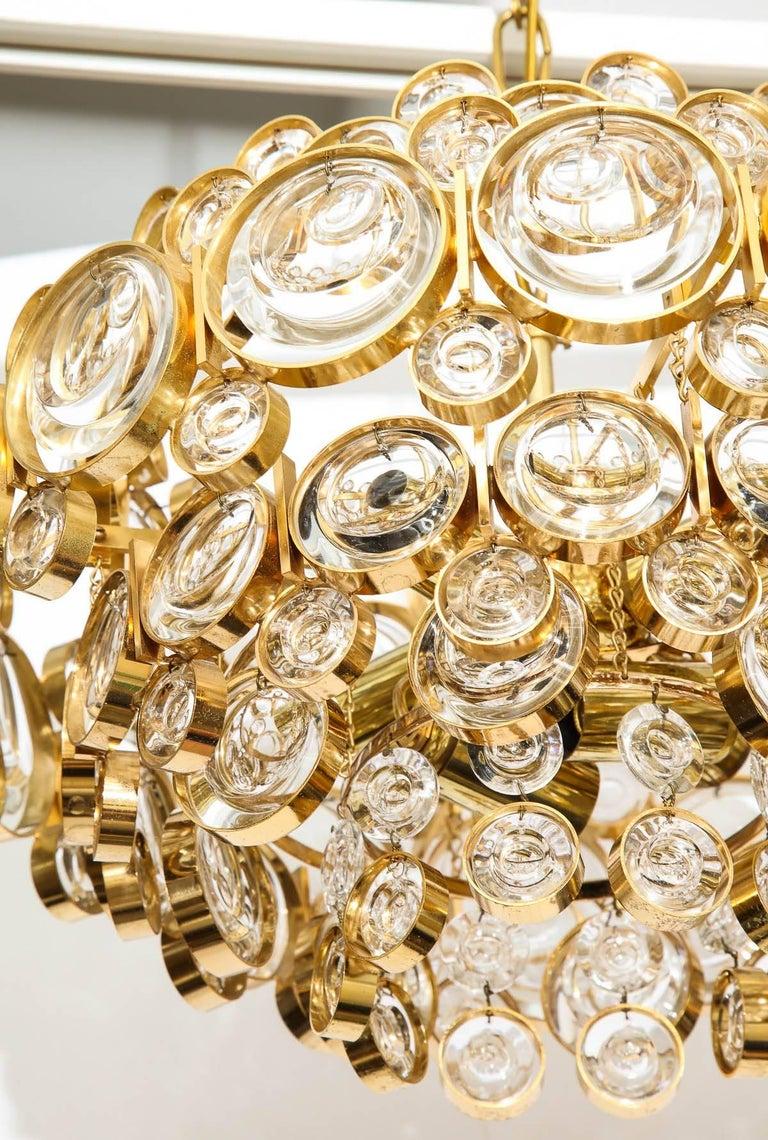 20th Century Palwa Gilt Brass Optic Glass Chandelier For Sale