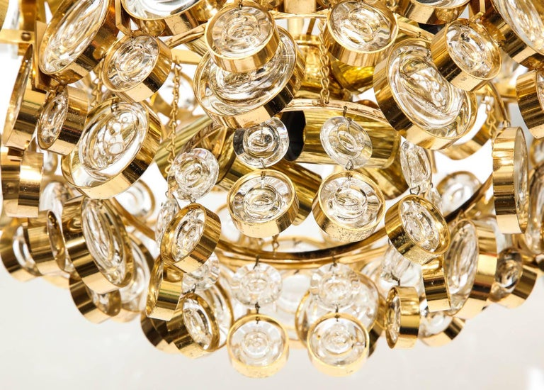 Gold Plate Palwa Gilt Brass Optic Glass Chandelier For Sale