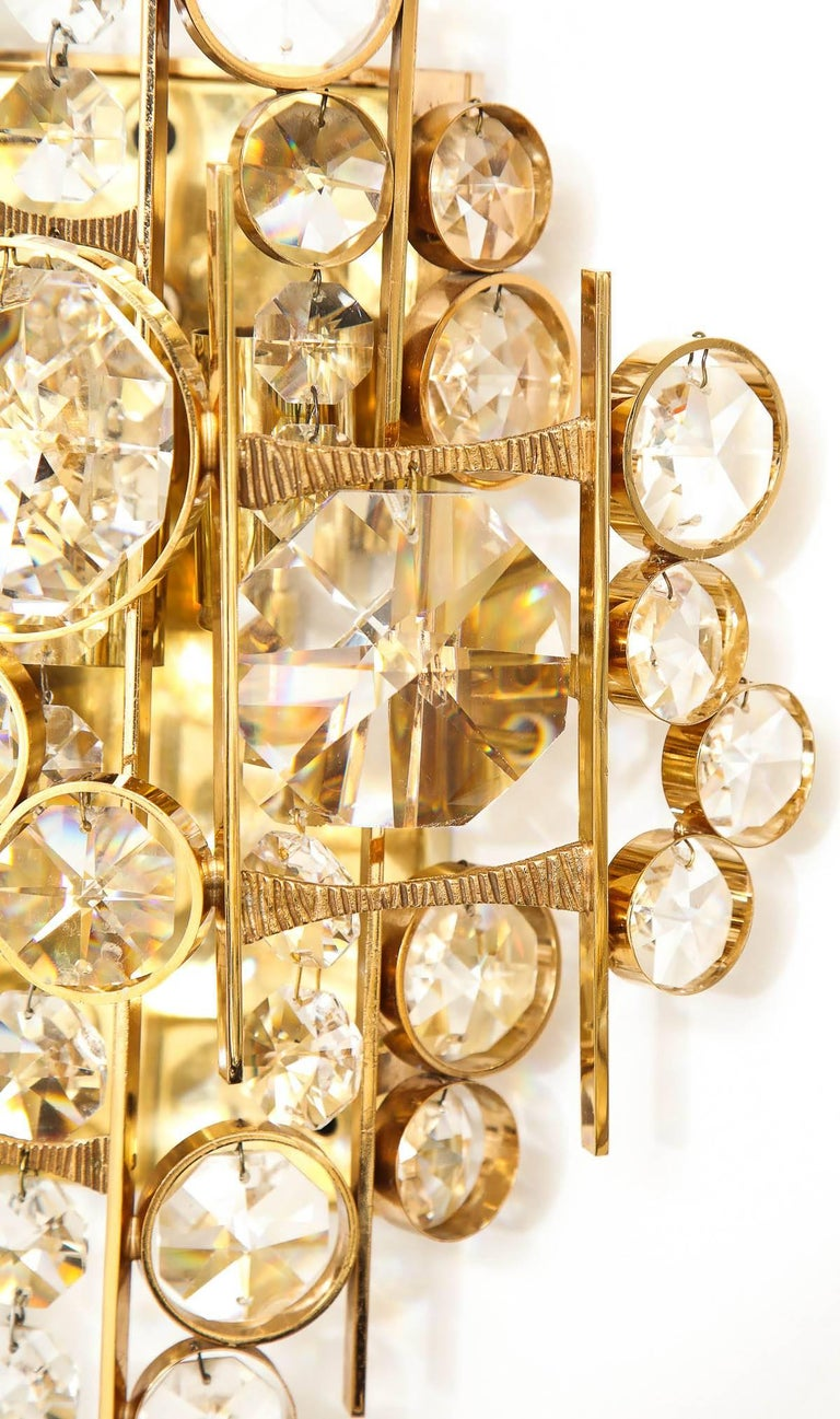 Gold Plate Palwa Austrian Crystal Sconces For Sale