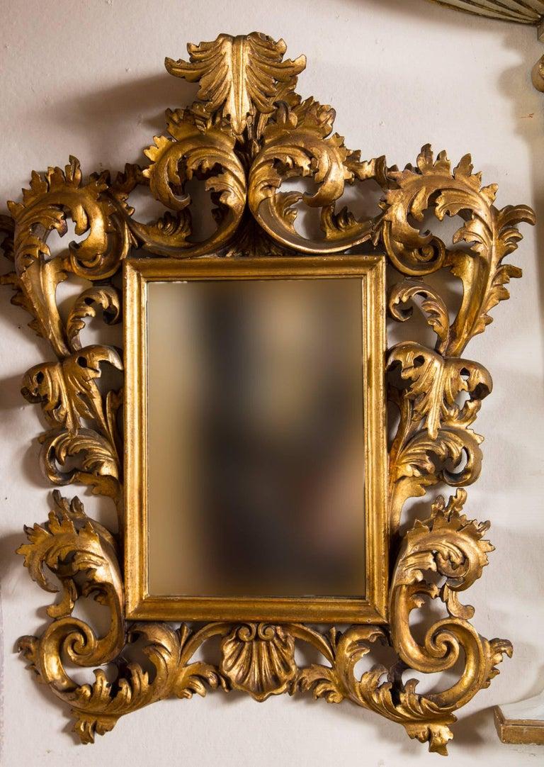 Rococo Antique Italian Giltwood Mirror For Sale