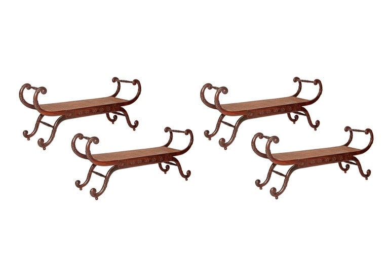 Group of four (4) English style walnut benches in an elongated