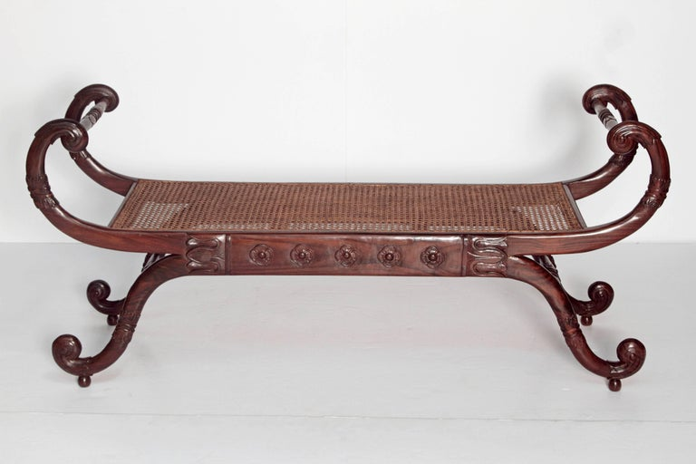 Cane Group of Four English Style Carved Walnut Benches For Sale