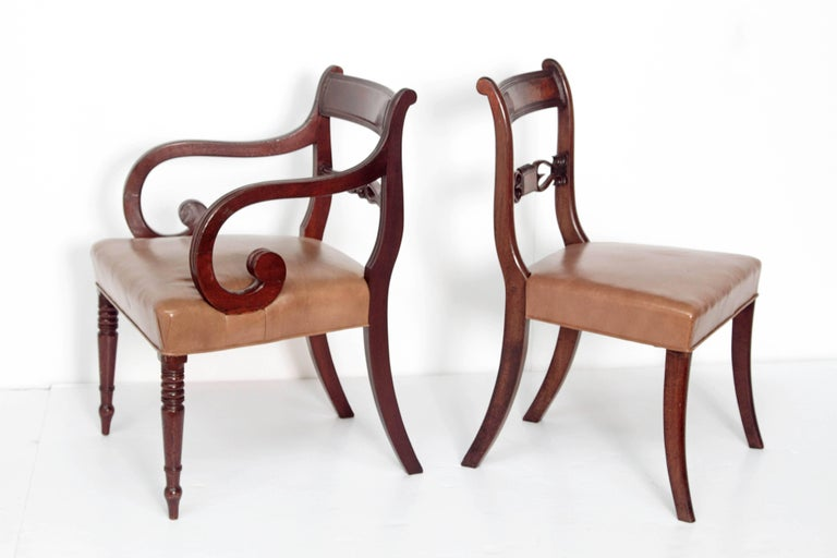 Carved Set of Eight English Regency Dining Chairs For Sale