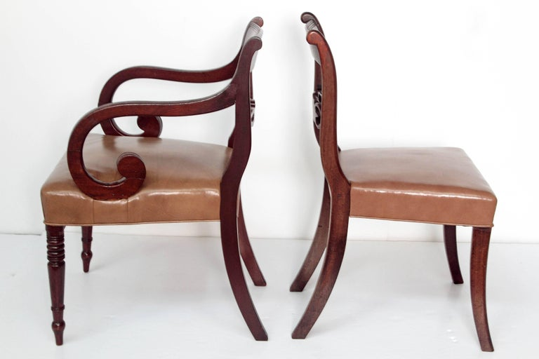 19th Century Set of Eight English Regency Dining Chairs For Sale