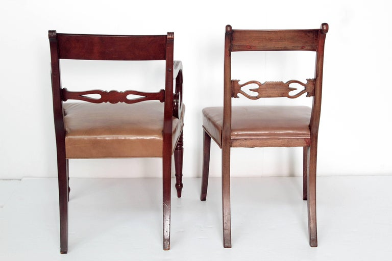 Leather Set of Eight English Regency Dining Chairs For Sale