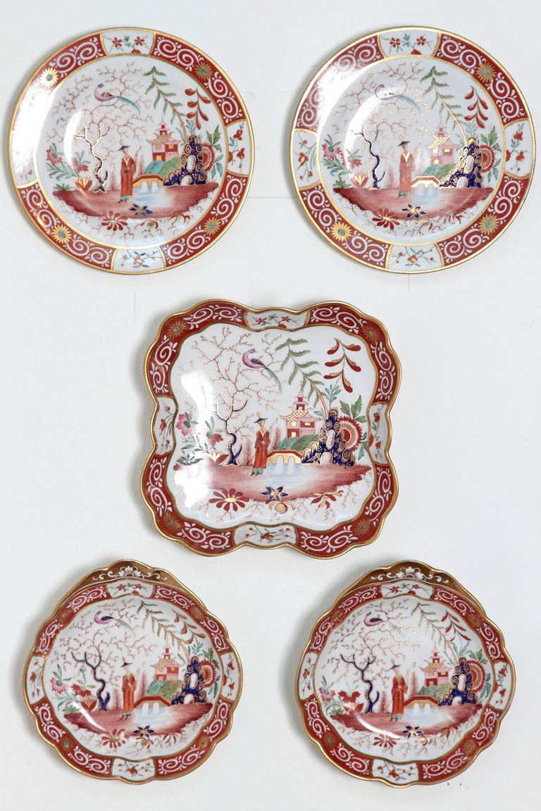 A Chamberlain's Worchester, Flight, Barr and Barr English porcelain 24-piece dessert service with chinoiserie pattern, primarily red and gold on white. Impressed mark for Barr, Flight and Barr, 1807-1813