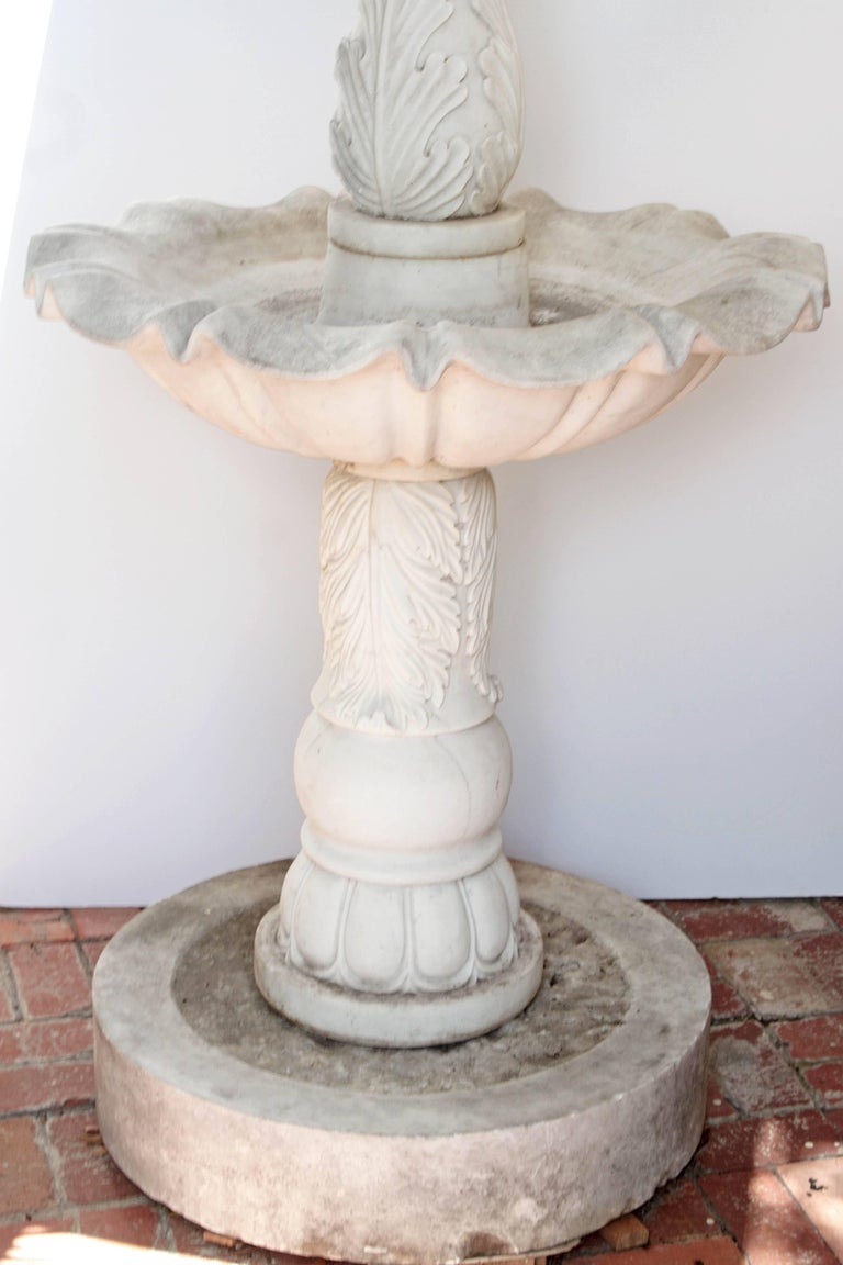 Two-Tiered Fountain of White Marble with Spitting Fish / Carp 3