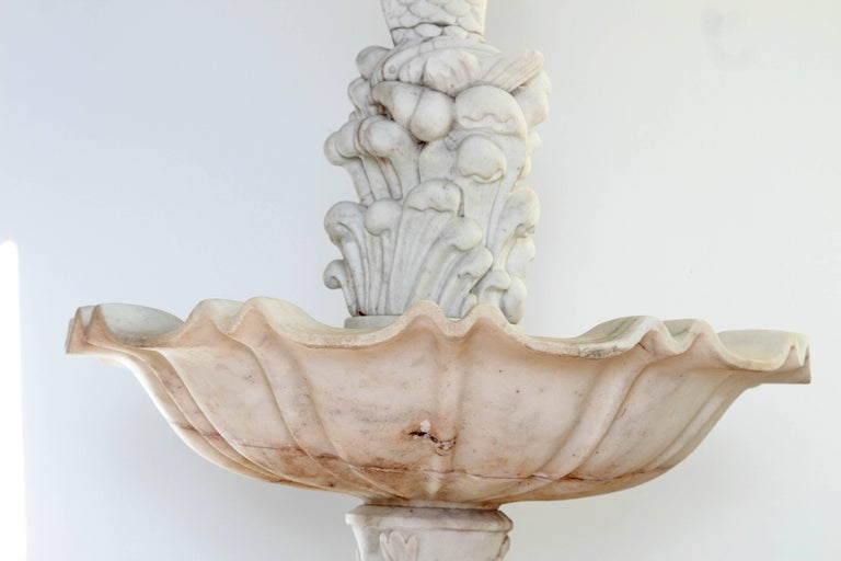 Two-Tiered Fountain of White Marble with Spitting Fish / Carp 6